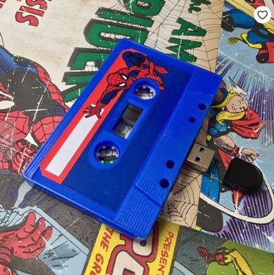 Spiderman-personalised-marvel-gift-mixtape-usb-theblankrecordstore-etsy