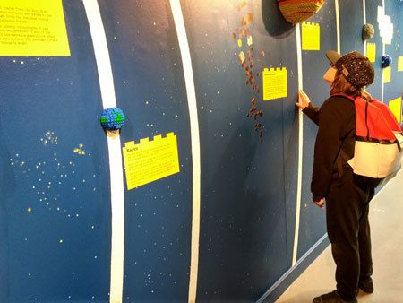 Checking out the solar system display at Rheged's exhibition. One of the Lego events 2019