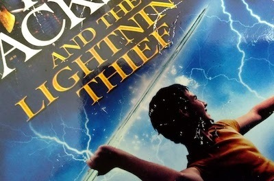 Cover art from Percy Jackson the Lightning Thief book, the first mythology book in the Rick Riordan book order