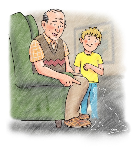 Illustration from I Love My Grandpa children's book about dementia